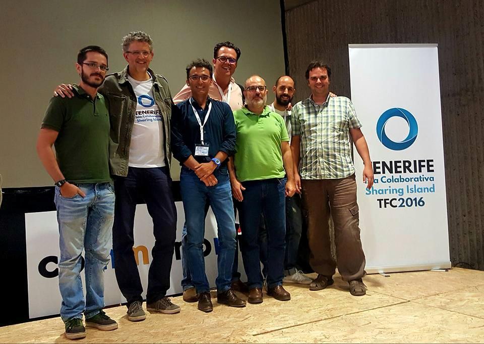 Representantes de la Asociación Canaria de Espacios Colaborativos durante el Tenerife Isla Colaborativa